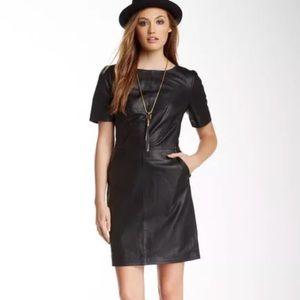 New Walter baker leather shift dress black XS m